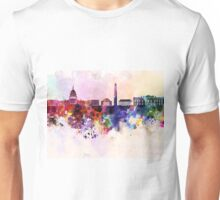 Washington DC skyline in watercolor background  Unisex T-Shirt