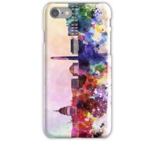 Washington DC skyline in watercolor background  iPhone Case/Skin