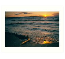 Waves on beach sunset Art Print