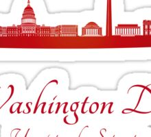 Washington DC skyline in red Sticker