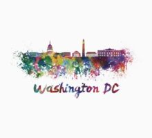 Washington DC skyline in watercolor Kids Tee