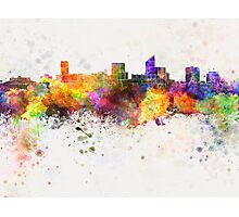 Wichita skyline in watercolor background Photographic Print