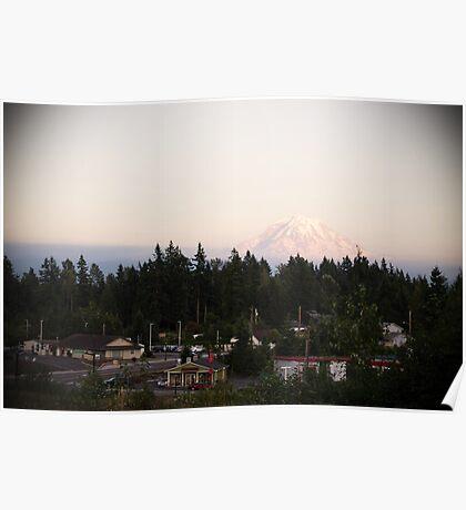 Mt Rainier Overlooking Bonney Lake Poster