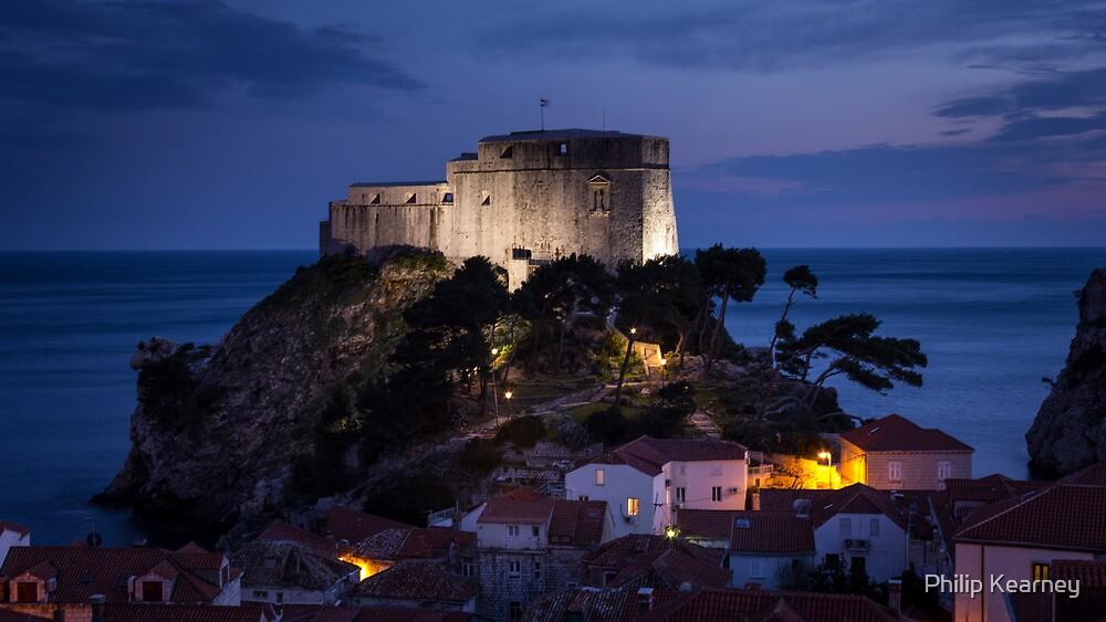Dubrovnik Castle at night by Philip Kearney