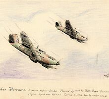 Hawker Hurricanes pencil sketch by ChrisNeal