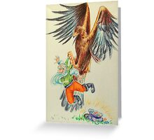 Snow-White and Rose-Red - the dwarf caught by the eagle Greeting Card