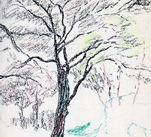 Tree in Winter pastel sketch by ChrisNeal