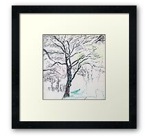Tree in Winter pastel sketch Framed Print