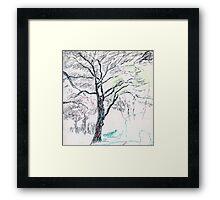Tree in Winter pastel sketch Framed Print