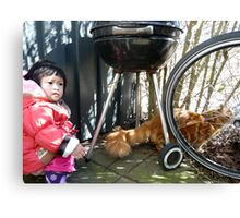 Girl playing with Kitten Canvas Print