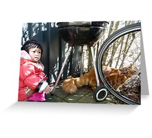 Girl playing with Kitten Greeting Card