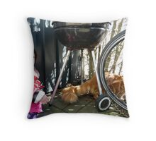 Girl playing with Kitten Throw Pillow