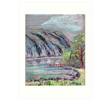 Lake district landscape pastel sketch Art Print