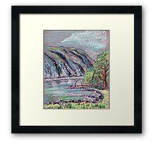 Lake district landscape pastel sketch Framed Print