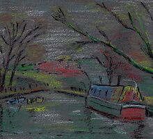 Boats on river-pastel sketch by ChrisNeal