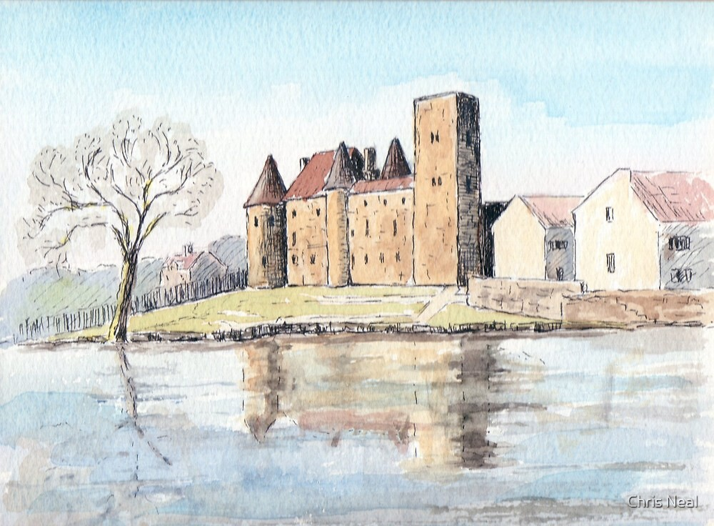 Nemours chateau and river Loing-watercolour by Chris Neal