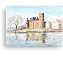 Nemours chateau and river Loing-watercolour Canvas Print