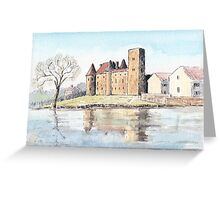 Nemours chateau and river Loing-watercolour Greeting Card