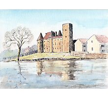 Nemours chateau and river Loing-watercolour Photographic Print