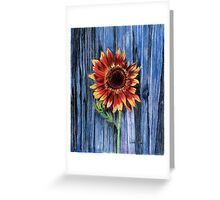 Sunflower on Blue Fence Greeting Card