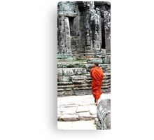 Monk at Temples, Cambodia Canvas Print