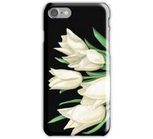 White Tulips on Black iPhone Case/Skin
