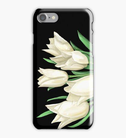 White Tulips on Black iPhone Case/Skin
