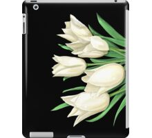 White Tulips on Black iPad Case/Skin