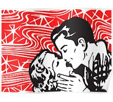 Pop art kiss on Red Retro background! Bold! Poster