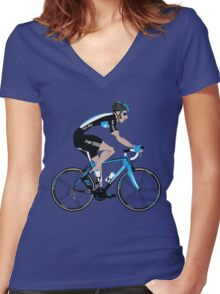 Bradley Wiggins Team Sky Women's Fitted V-Neck T-Shirt