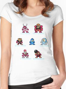Megaman surrounded 1 with text Women's Fitted Scoop T-Shirt
