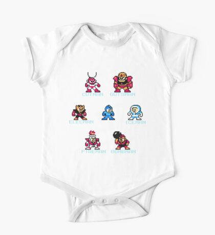 Megaman surrounded 1 with text One Piece - Short Sleeve