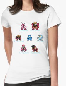 Megaman surrounded 1 with text Womens Fitted T-Shirt