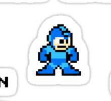 Megaman surrounded 1 with black text Sticker