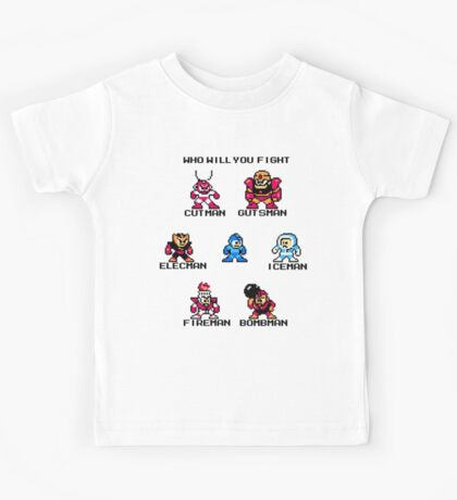 Megaman Who will you fight (black text) Kids Tee