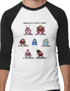 Megaman Who will you fight (black text) Men's Baseball ¾ T-Shirt