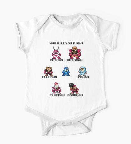 Megaman Who will you fight (black text) One Piece - Short Sleeve