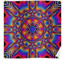 Fantasy Floral Kaleidoscope fractal artwork Poster