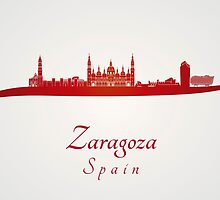 Zaragoza skyline in red and gray background by paulrommer