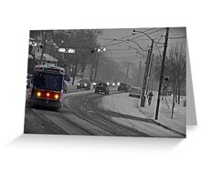 Streetcar in the Snowstorm Greeting Card