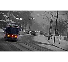 Streetcar in the Snowstorm Photographic Print