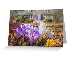 Welcome mat of Spring crocuses Greeting Card