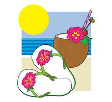 Flip Flops and Drink by Maria Bell