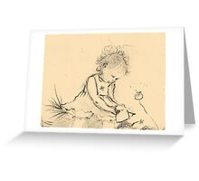 Cecily picking daisies Greeting Card