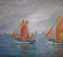 Les Thoniers d' Etel   Fishing Tuna Boats by Gerard Bahon