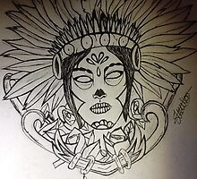 Day of the dead indian tattoo by Yeahitssian