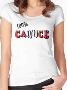 Canadian 100% Canuck Women's Fitted Scoop T-Shirt