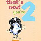 Kids Birthday Age 2 Pomeranian Card by offleashart