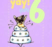 Kids Birthday Age 6 Pug Card by offleashart