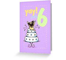 Kids Birthday Age 6 Pug Card Greeting Card